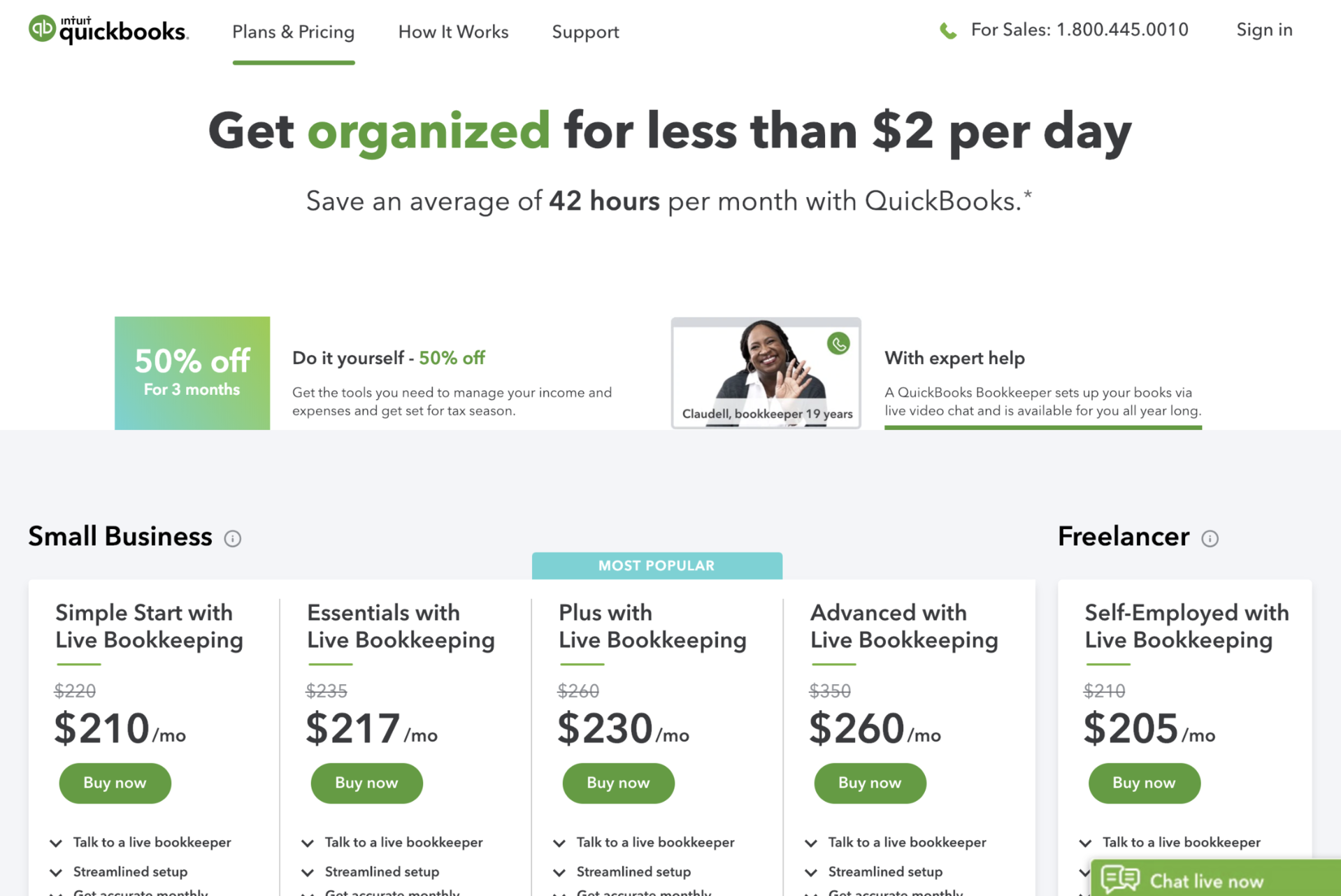 QuickBooks Live Bookkeeping Pricing
