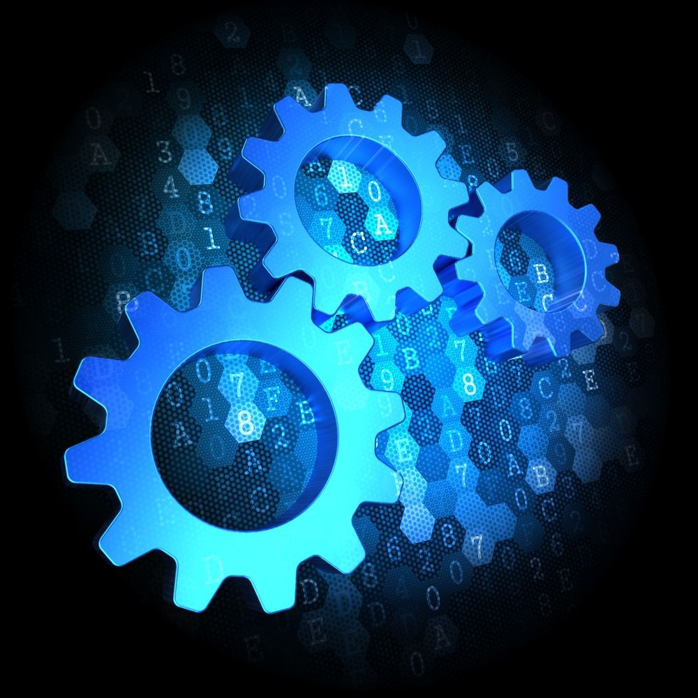 Blue Cogwheel Gear Mechanism Icon on Dark Digital Background.-1