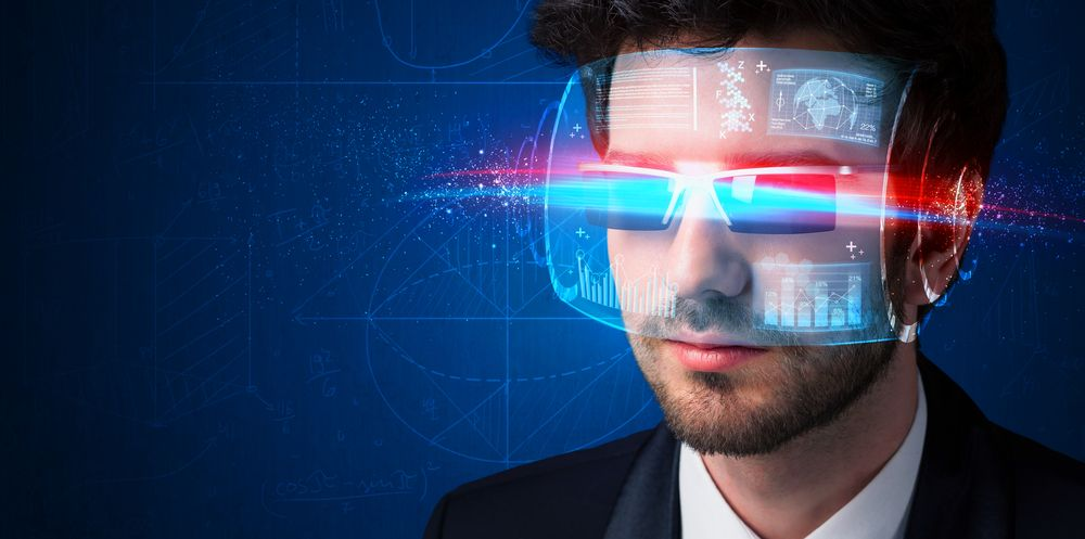 Man with future high tech smart glasses concept  | Botkeeper
